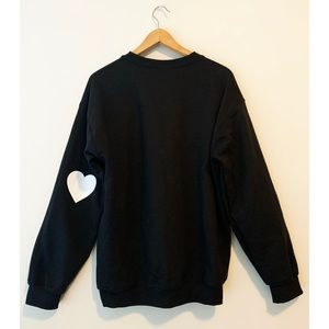 🤍 Black Crewneck Sweater with White Heart
